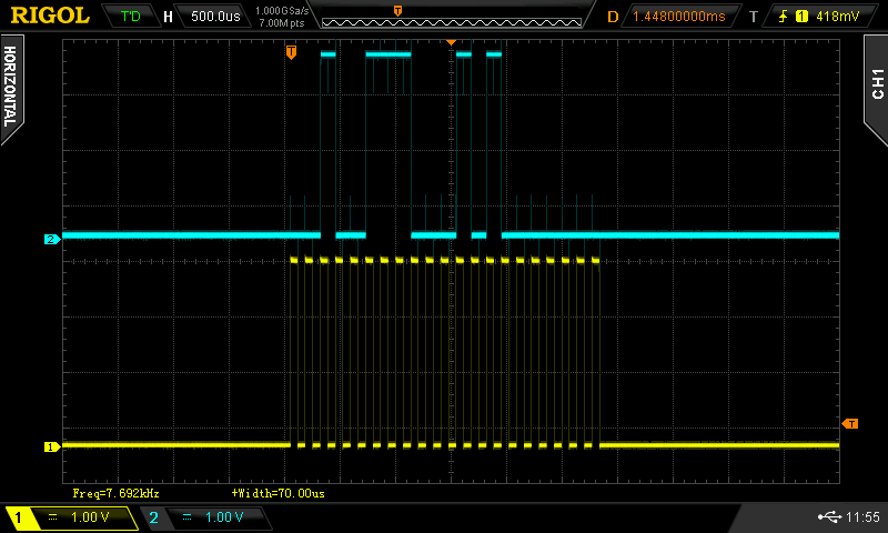 Oscilloscope screen capture of iGaging 21-Bit protocol