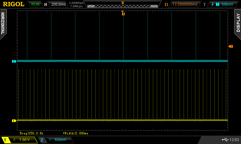 Oscilloscope capture of clock signals from two scales